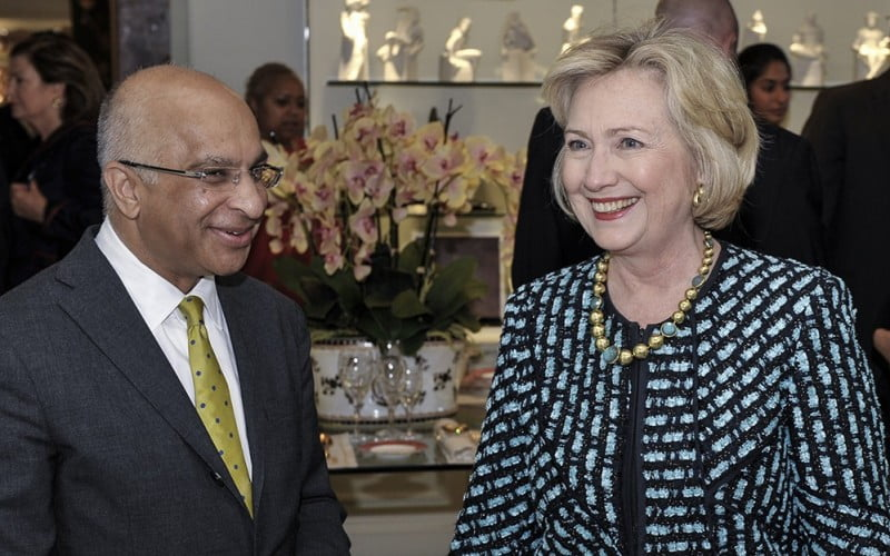 Rumi Verjee and Hillary Clinton at the Clinton Foundation Lunch, The Rumi Foundation